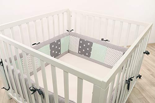 Protector para parque de ULLENBOOM ® con menta gris (protección de 400x30 cm para parque de bebé; chichonera para parques de juego de 100x100 cm; para todo el contorno)