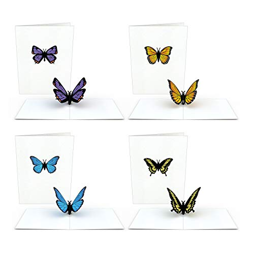 Lovepop Notecard 4-Pack Pop Up Cards, Butterfly Birthday Cards, Thank You Cards With Envelopes, Butterfly Card, Thank You Notes Greeting Cards, 3D Card, Greeting Card, Pop Up Notecard