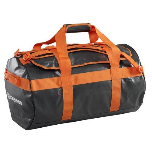Caribee Kokoda 90L Duffle Bag - Wetterfeste Reisetasche aus PVC Material mit abnehmbaren Schultergurten (Grau-Orange)