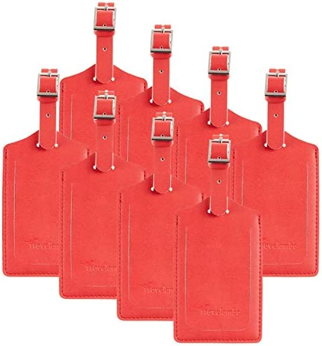 8 Pack Leather Luggage Travel Bag Tags by Travelambo Red product image
