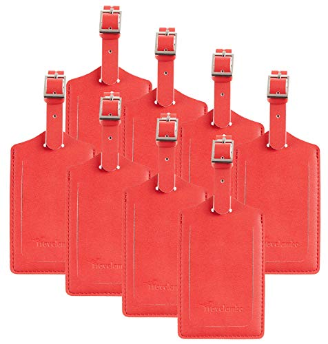 8 Pack Leather Luggage Travel Bag Tags by Travelambo Red