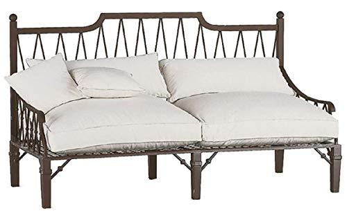 Casa Padrino sofá Art Nouveau de Lujo marrón/Crema 190 x 90 x A. 115 cm - Sofá de Hierro Forjado Forjado a Mano con Cojines - Sofá de Salón - Sofá de Jardín - Sofá de Patio - Calidad de Lujo