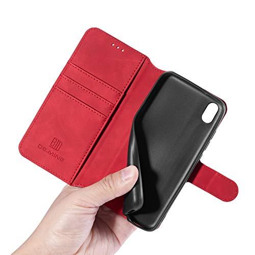 GoodcAcy Xiaomi Redmi 7A Hülle+Panzerglas Schutzfolie,Premium Leder Flip Schutzhülle Handyhülle Tasche Flip Hülle Brieftasche Etui handyhüllen für Xiaomi Redmi 7A,Rot