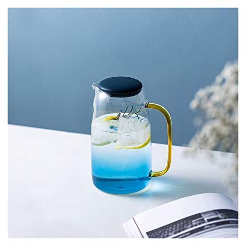 liangzishop Jarra de Agua Cristal Lanzador de Vidrio de Gran Capacidad con Tetera de Vidrio Resistente a Alta Temperatura de Mango sin Goteo para té Helado, Bebidas frías/frías Jarras de Vidrio