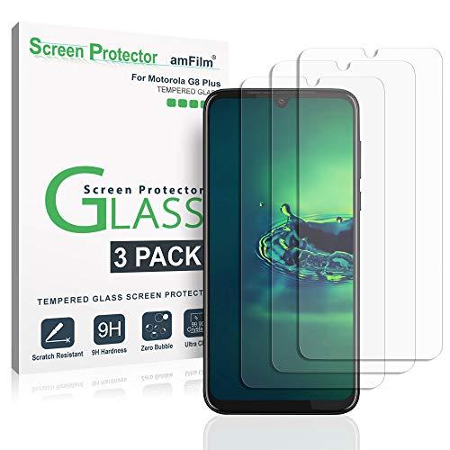 Moto G8 Plus Panzerglas Bildschirmschutzfolie (3 Stück), amFilm Panzerglas (Gehärtetem Glas) Schutzfolie für Motorola G8 Plus (2019)