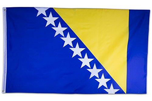 SCAMODA Bundes- und Länderflagge aus wetterfestem Material mit Metallösen (Bosnien und Herzegowina) 150x90cm