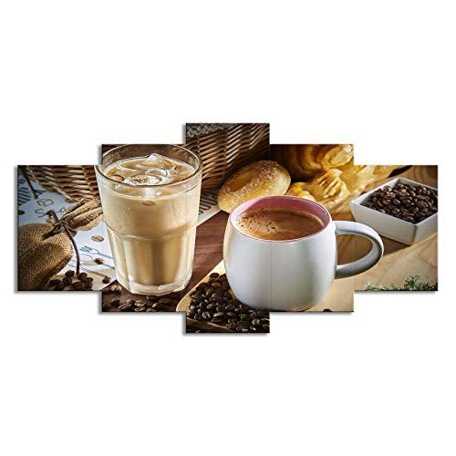 BIOAOUA Bild Für Wohnzimmer5 Kombinierte Leinwanddrucke, Dampfende Kaffeetasse, Kaffeebohnenmalerei, Küchenwandkunst, Lebensmitteldekoration, Bedruckte Leinwand-A-No Frame_100X55Cm