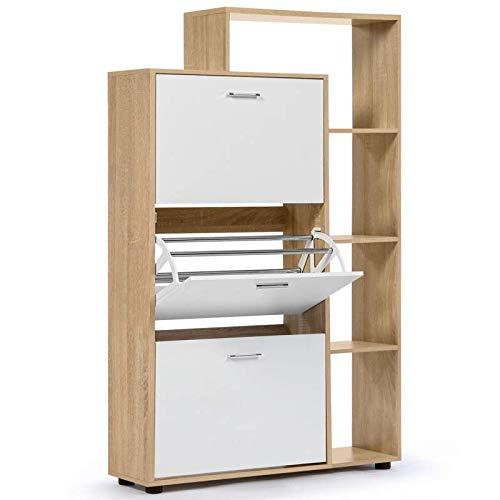 IDMarket - Meuble à chaussures imitation hêtre 3 portes blanches avec étagère