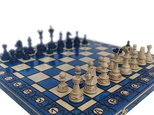 KHAPLO ® – Juego de ajedrez de madera de lujo – Capaz plegable – Hecho a mano – 41 x 41 cm – Gran bandeja de juego – Modelo Sparta – Azul – Chess Board – Juego de mesa – Juego de ajedrez
