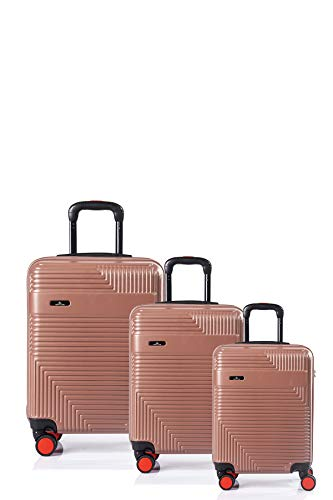 North CASE ABS 8 Wheels CCS Suitcase Luggage Trolley HARDCASE Lightweight Cabin Bag Burgundy-Black S (3pcs, Pudra - Black)