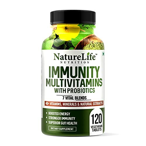 Nature Life Nutrition Immunity Multivitamins with Probiotics (120 Veg Tablets) 40+ Vitamins, Minerals & Natural Extracts, 7+ Vital Blends for Immunity, Energy & Digestion