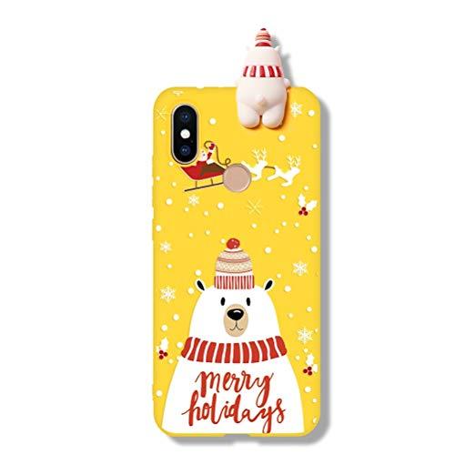 Yoedge Funda para Xiaomi Redmi Note 7, Silicona Cárcasa 3D Doll Toy Muñeca Navidad con Dibujos Antigolpes de Diseño Suave TPU Bumper Case Fundas para Movil Xiaomi Redmi Note 7. (Oso Polar 2)