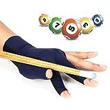 Guantes de Snooker de alta elasticidad, guantes de nailon, 3 dedos, guantes de Snooker, guantes profesionales de billar para piscina, guantes de 3 capas de fibra, Mujer, Bleu foncé