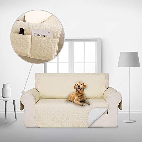 Deconovo Copridivano 2 Posti Trapuntato con Tasche Telo Copri Divano Antiscivolo Protegge Il Mobile per Cani/Gatti Letto Beige
