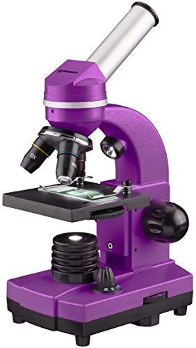 Bresser Junior Schülermikroskop BIOLUX SEL mit Smartphonehalter, reichhaltigem Zubehör und Barlow-Zoom-System für Kinder, Einsteiger und Erwachsene, violett