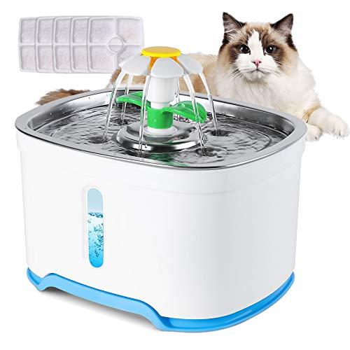 Forever Speed Katzenbrunnen, Katzen Trinkbrunnen, Trinkbrunnen für Katze mit 5 Aktivkohlefilter, Wasserstandsfenster, LED-Leuchten, 2,5L große Kapazität Automatischer Wasserbrunnen für Katzen & Hunde