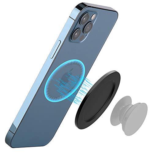 METISINNO Soporte magnético para teléfono con agarre POP o soporte de anillo, compatible con iPhone 12/12 Pro, 12 Pro Max/12 Mini y funda magnética (color negro)