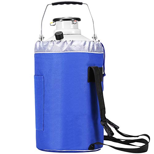 BestEquip 3L Liquid Nitrogen Container,Aluminum Alloy Liquid Nitrogen Tank ,Static Cryogenic Container,Liquid Nitrogen Container with 6 Canisters and Carry Bag