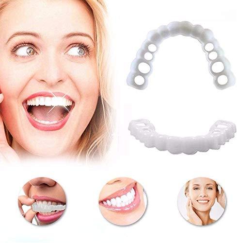 KUYT Zahnersatz Provisorischer Ober Und Unterkiefer FüR SchöNe Perfekte LäCheln Wiederverwendbaren Und Abnehmbaren, Make Weiß Zahn Schöne Ordentlicher