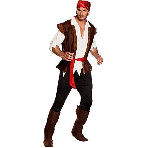 Boland-BOL83532 Disfraz Pirata de Trueno Adulto, Color Blanco marrón Rojo, M (50/52) (Ciao SRL BOL83532)