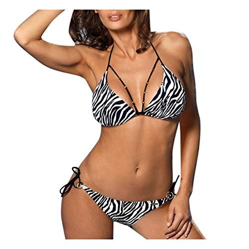 Pummb Retro Badeanzug Bikini Buffalo Damen Tankini TräGerlos Damen Schwimmanzug Monokini Shorty Schwimmanzug Damen Tankini-Set Badeanzug (Weiß a,L)