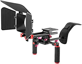 Neewer Camera Shoulder Rig, Video Film Making System Kit for DSLR Camera and Camcorder with Shoulder Mount, 15mm Rod, Handgrip and Matte Box, Compatible with Canon/Nikon/Sony, etc (Red + Black)