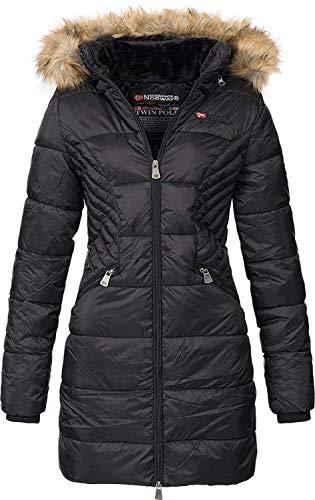 Geographical Norway ABEILLE - Parka grande para mujeres - Abrigo de invierno abrigado - Manga larga y cuello de piel sintética - Chaqueta para mujeres de tela resistente (NEGRO XXL)