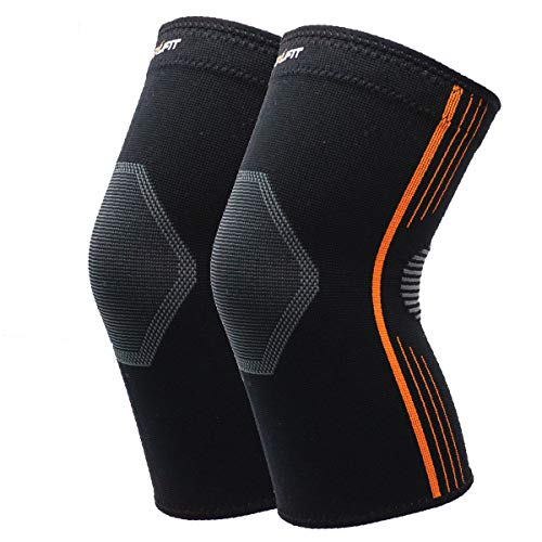 NeoAlly Premium Knee Sleeves Medical-Grade Compression Knee Brace for Knee Pain Breathable Knee Support for Running and Basketball, Unisex, Orange, Small, 2-Pack