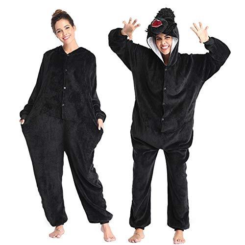 Pijama Adultos Polar Fleece Kigurumi Navidad Gris Elefante Disfraz Animal Onesies Pijamas Halloween Carnaval Masquerade Party Mono Ropa-Gorila_L