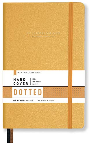 """Minimalism Art, Premium Hard Cover Notebook Journal, X-Large Size, Master A4 8.3"""" x 11.4"""", 186NumberedPages, GussetedPocket, Ribbon Bookmark, Extra Thick Ink-ProofPaper120gsm (Dotted, Amber)"""