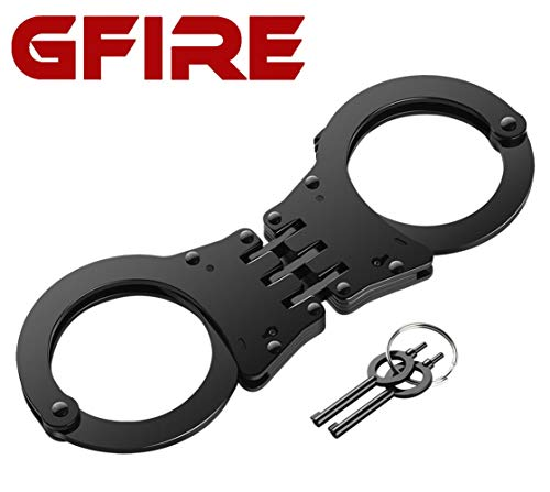 GFIRE Police Handcuffs Real Professional Grade Hinged Heavy Duty Double Lock Handcuffs in Black Metal Perfect for Security Guards, Law Enforcement and Concerned Citizens