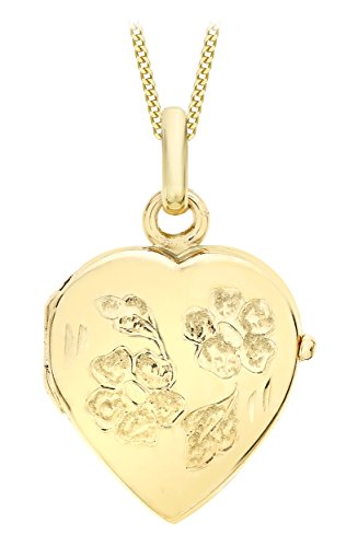 Carissima Gold 9ct Yellow Gold Heart Daisy Locket Pendant on Curb Chain Necklace of 46cm/18'