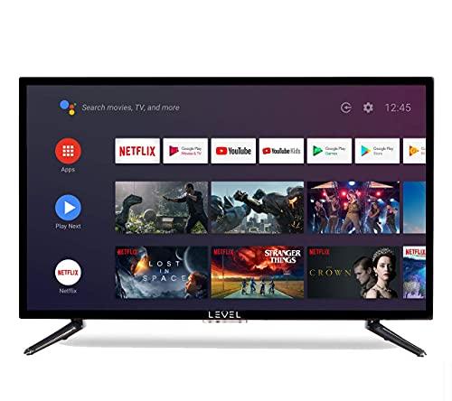 """Level 32"""" Pouces Android 9.0 Smart TV 81cm HD LED Téléviseur (Google Assistant, Google Play Store, Prime Video, Netflix) Chromecast intégré, Triple Tuner, WiFi, Bluetooth"""