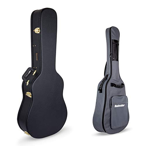 Crossrock CRW500DBK Cases Hard-Shell Wooden Case for 6 String Acoustic Dreadnought Guitars