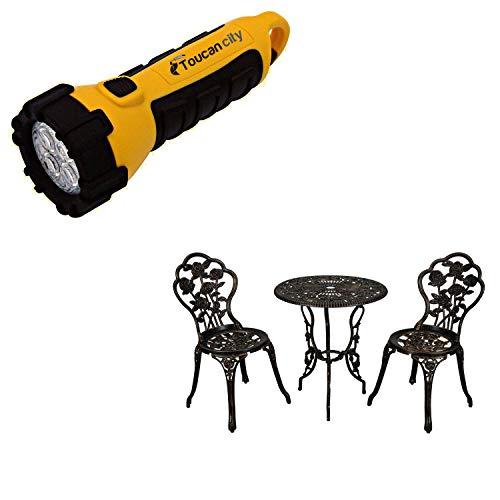 Toucan City LED Flashlight and CASAINC 3-Piece Aluminum Round Outdoor Bistro Set with Umbrella Hole XG1015