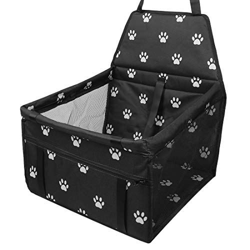 X AUTOHAUX Hunde Autositz für Kleine Mittlere Hunde, Rückbank & Vordersitz Hundesitz, Wasserdicht Autositzbezug Hundedecke Haustierdecke Einzelsitz für Haustier Hund Katzen Dunkelschwarz