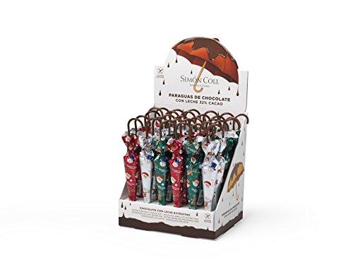 Simon Coll Expositor de paraguas de Navidad de chocolate laminado, 35 g (paquete de 30)