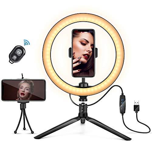 Anillo de luz LED de 10 Pulgadas con Soporte para teléfono Celular, Anillo de Maquillaje luz Regulable 3 Modos de luz