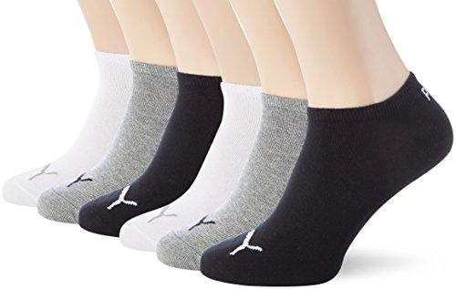 PUMA Unisex Sneakers Socken Sportsocken 6er Pack,Mehrfarbig (Schwarz/grau/Weiß),39/42