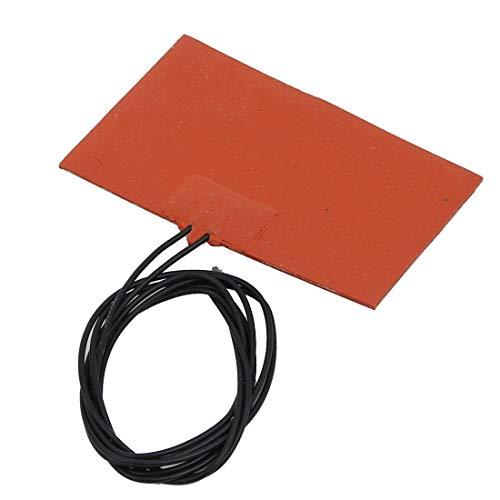 sourcing map DC 12V 10W termostático calentador lámina flexible silicona Hoja calefacción 80mm x 50mm