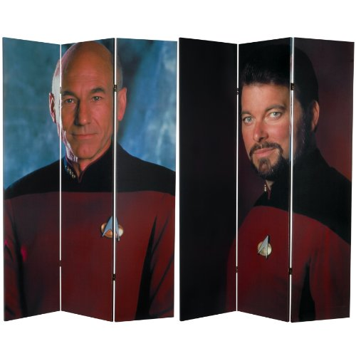 Oriental Furniture 6 ft. Tall Double Sided Star Trek Picard and Riker Canvas Room Divider