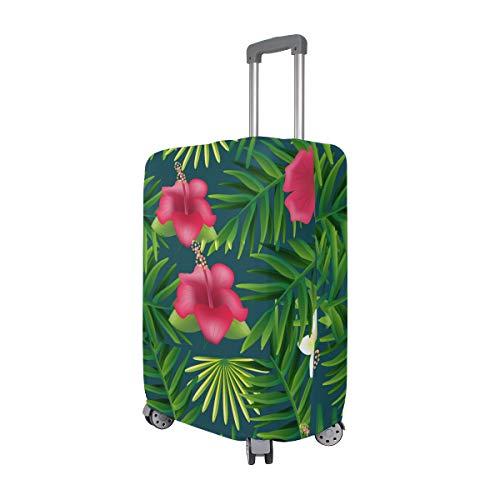 FANTAZIO mooie palmboom met rode bloemen koffer beschermhoes Bagage Cover