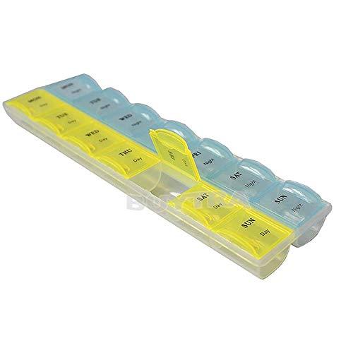 Lecez Caja de píldora plástica de 28 compartimientos, Colorido 7 días a la Semana Caja de Almacenamiento Creativo de Cambia para vitaminas, Aceite de hígado de Bacalao, Azul, Rosa, 21.5x6x1.8cm