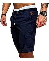 lexiart Mens Fashion Sports Short Pants - Mens Solid Color Jogger Cargo Pants Sweatpants Trousers Short Pants Navy