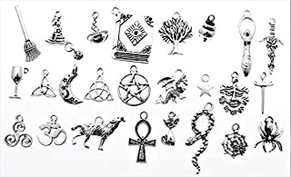 AVBeads Pagan Wiccan Metal Charms Silver 1253 50pcs Jewelry Making Charms for Charm Bracelets