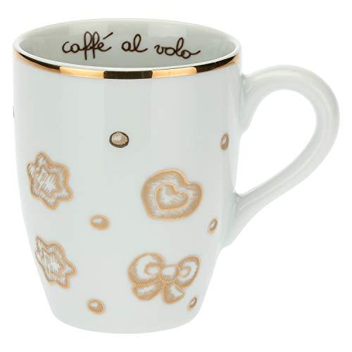 THUN - Tazza Colazione con Decorazioni Natalizie - Mug per tè, caffè, Latte - Idea Regalo Natale - Accessori Cucina - Linea Gold Icons - Porcellana, Oro 24 k - 300 ml