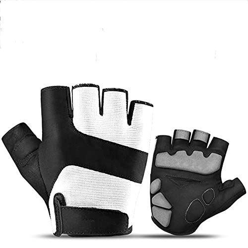JTXQSI Summer Cycling Gloves MTB Road Bike Half Finger Gloves Men Women Thickened Palm Pad Bicycle Gym Fitness Sport Gloves (Color : White, Size : L)