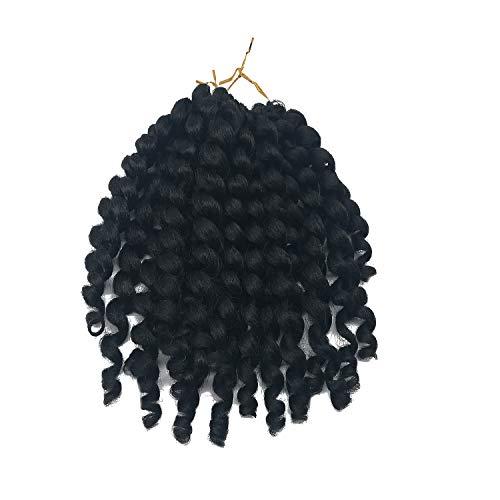 Coolbers 3packs 8 pouces Jumpy Wand Curls Crochets Tresses Crochet Synthétiques Tresses Crochet Extensions de Cheveux Noir Jamaican Bounce Curl Crochet Cheveux pour Femmes (3 Packs, 1B)