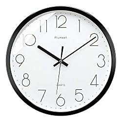 Plumeet Black Silent Wall Clocks - Non Ticking Quartz Round Clock Decorate Bedroom Home Kitchen Office - Battery Operated