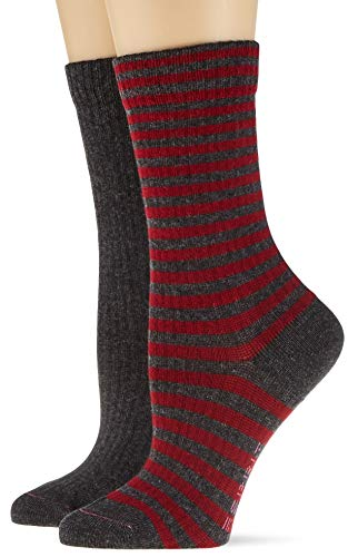 ESPRIT Damen Sporty Stripe 2-Pack Socken, grau (anthracite mel. 3081), 39-42 (UK 5.5-8 Ι US 8-10.5) (2er Pack)